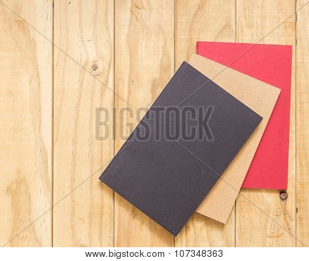 Top View Of Color Book On Wooden Table