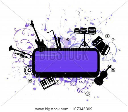 abstract musical background with music instruments