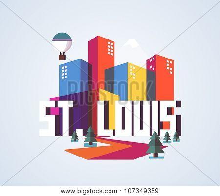 St. Louis city travel destination in USA. vector cartoon,