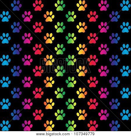 Paw prints in gradient rainbow colors, on black background, a seamless pattern