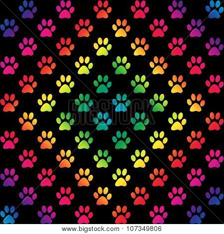 Paw prints in gradient rainbow colors in a diamond shape, on black background