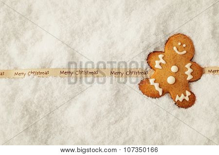 homemade christmas gingerbread cookie in the snow