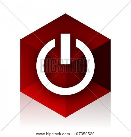 power red cube 3d modern design icon on white background