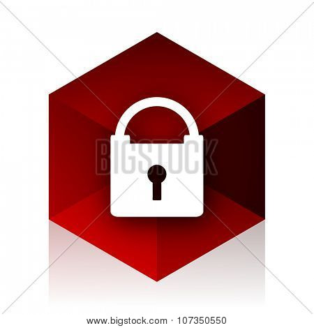 padlock red cube 3d modern design icon on white background