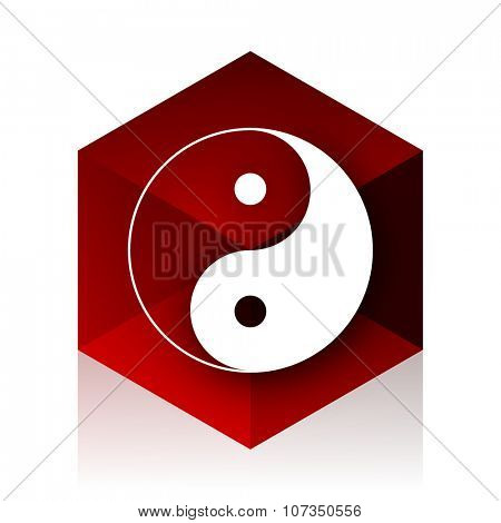 yin yang red cube 3d modern design icon on white background