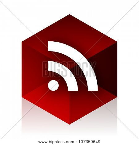 rss red cube 3d modern design icon on white background
