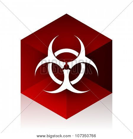 bio hazard red cube 3d modern design icon on white background
