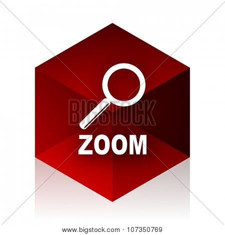 zoom red cube 3d modern design icon on white background