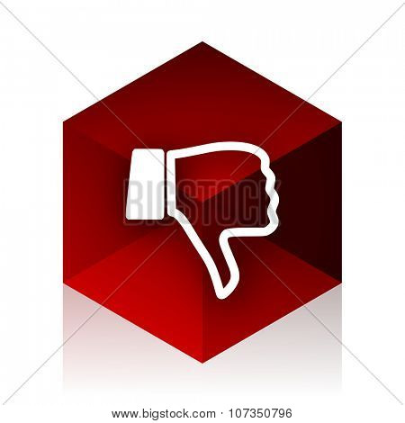 dislike red cube 3d modern design icon on white background
