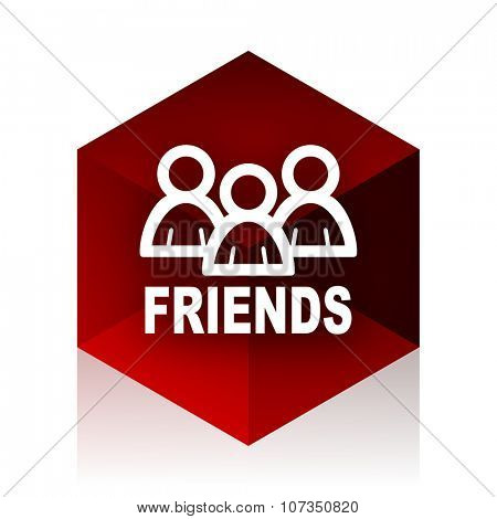 friends red cube 3d modern design icon on white background