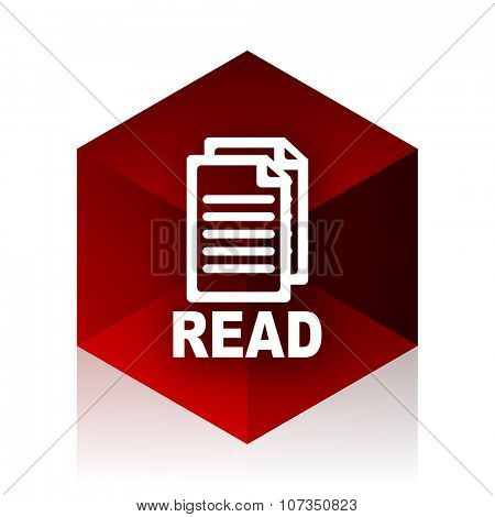 read red cube 3d modern design icon on white background
