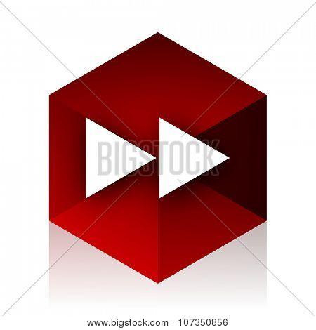 rewind red cube 3d modern design icon on white background