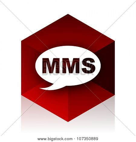 mms red cube 3d modern design icon on white background