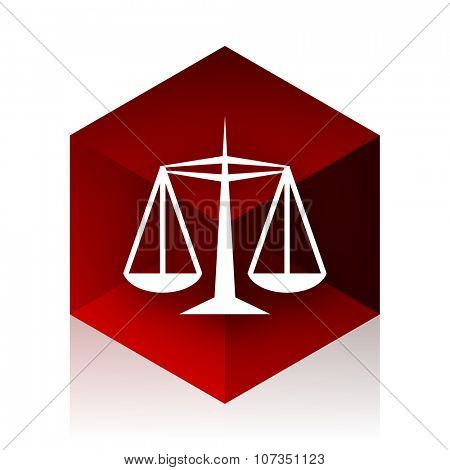justice red cube 3d modern design icon on white background