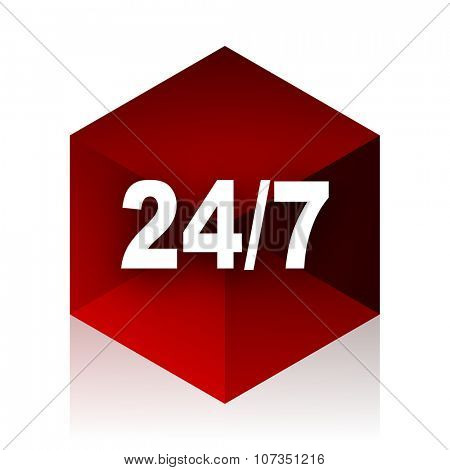 24/7 red cube 3d modern design icon on white background
