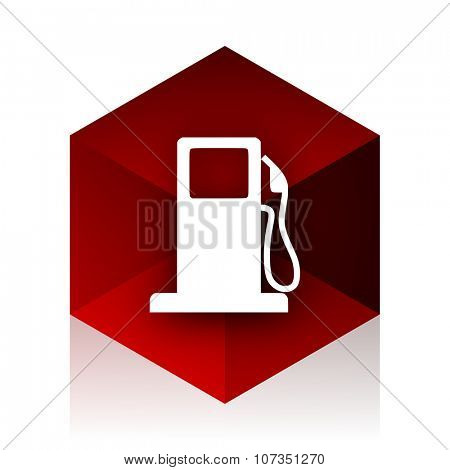 petrol red cube 3d modern design icon on white background
