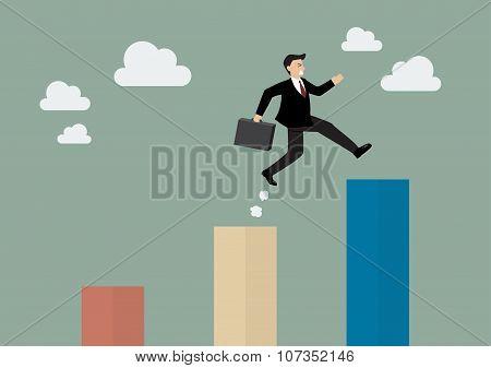 Businessman Jumping Up To A Higher Bar Chart