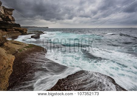 Stormy Ocean With Unrest Sea And Waves