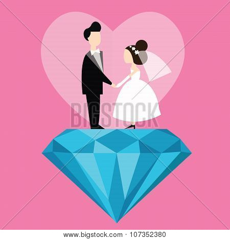 man woman married wedding bride cartoon with blue diamond love flat illustration couple