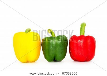 Bell Pepper,3 Colors Capsicum Or Sweet Pepper On White Background