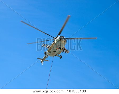 MI-8 helicopter in the air