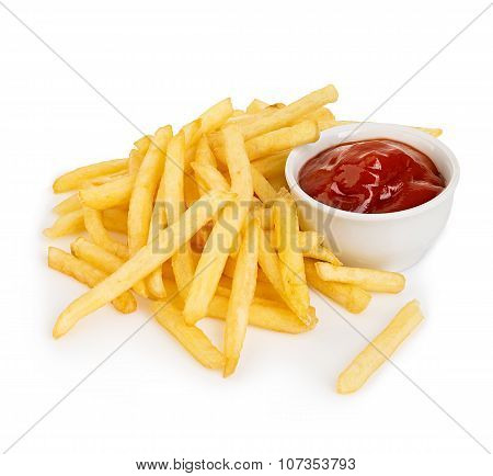 Potatoes Fries With Ketchup Close-up Isolated On A White Background.