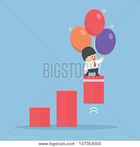 Businessman Use Balloon To Pulled Up The Graph