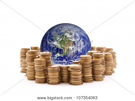 World standing on money. Earth image provided by Nasa.