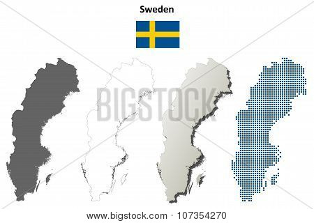 Sweden outline map set