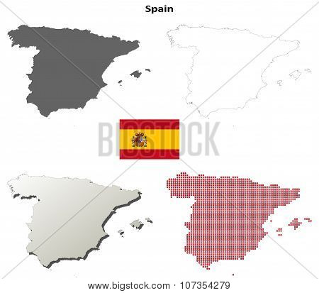 Spain outline map set