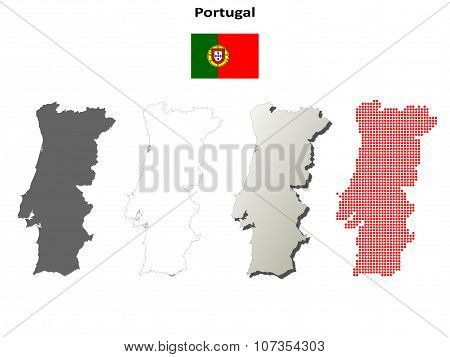 Portugal outline map set