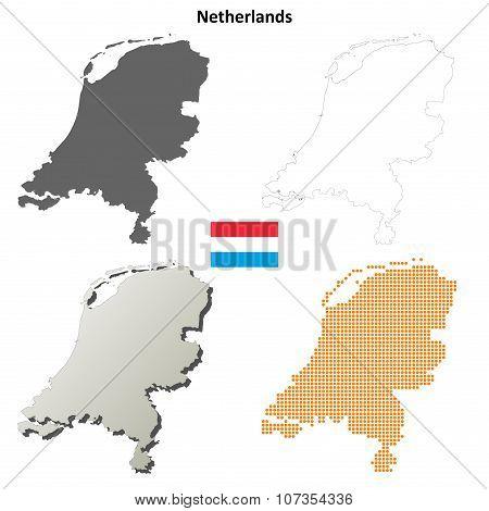 Netherlands outline map set