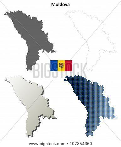 Moldova outline map set