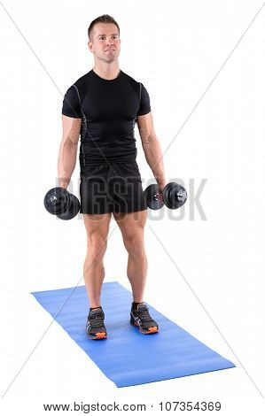 young man fitness instructor shows starting position of standing dumbbell dumbbell biceps curl, isolated on white