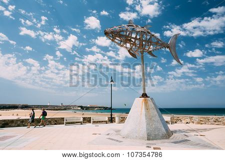 Weather vane in shape tuna in Tarifa, Spain