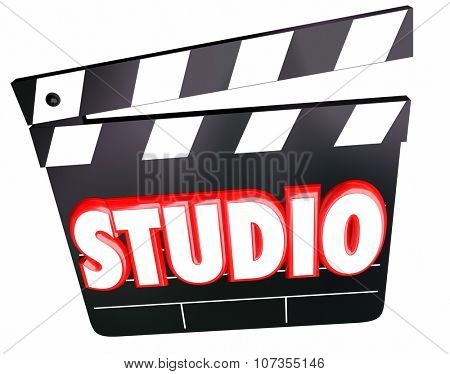 Studio word in3d red letters on a movie clapper board to illstrate a film production company shooting on a set or soundstage