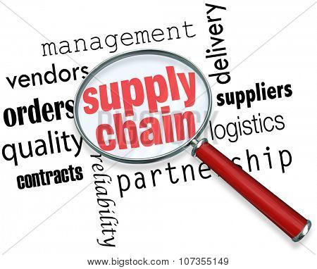 Supply Chain words under a magnifying glass to illustrate logistics management and expertise