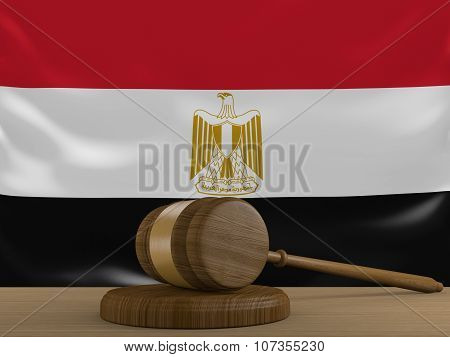 Egypt law and justice system with national flag