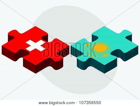 Switzerland And Kazakhstan Flags