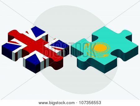 United Kingdom And Kazakhstan Flags