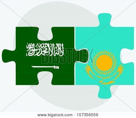 Saudi Arabia And Kazakhstan Flags