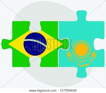 Brazil And Kazakhstan Flags