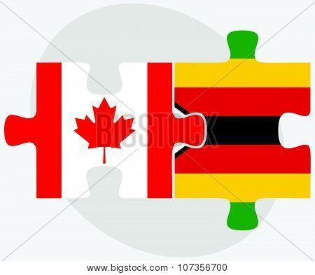 Canada And Zimbabwe Flags
