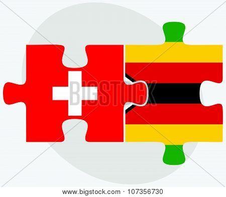 Switzerland And Zimbabwe Flags