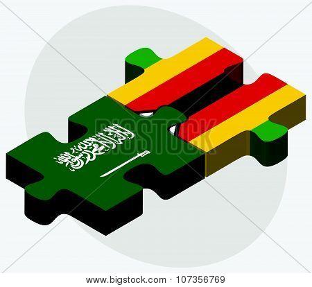 Saudi Arabia And Zimbabwe Flags