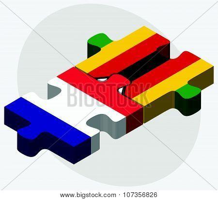 France And Zimbabwe Flags
