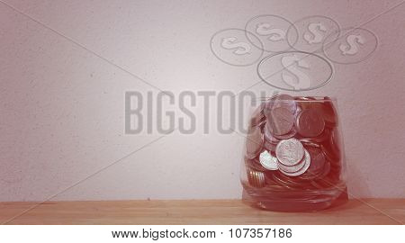 Money in the glass , financial concept