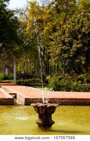 Fountain in Park with Trees