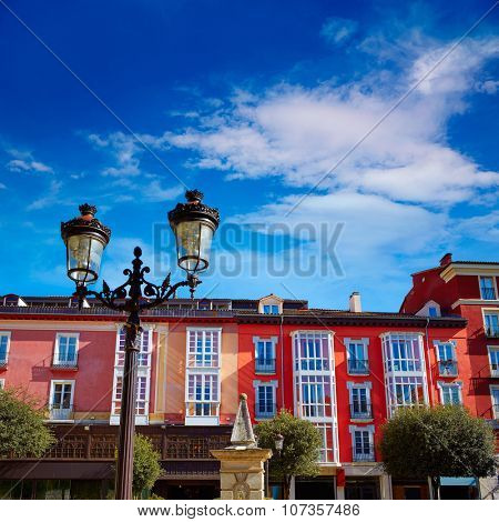 Burgos plaza de la Libertad square facades in Castilla Leon of Spain