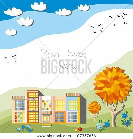 Beautiful Autumn Frame With Kindergarten, Trees, Flowers, Clouds In The Sky And Birds Fly South